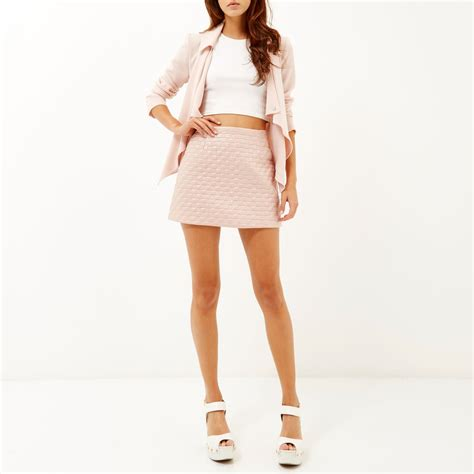 light pink mini skirt river island light pink quilted mini skirt in pink lyst