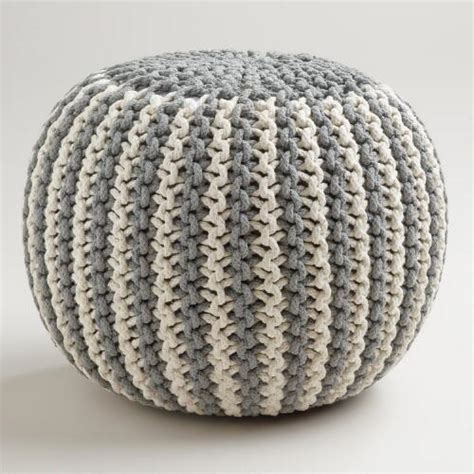 how to knit a pouf ottoman two tone knitted pouf world market
