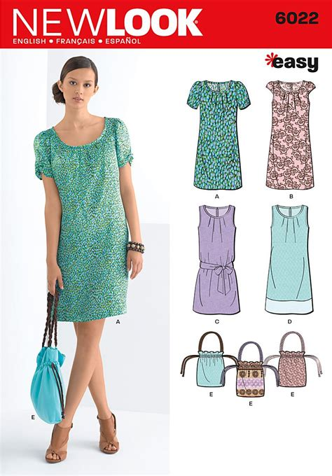sewing pattern simple dress new look 6022 misses dresses bag