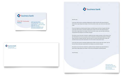 Business Bank Business Card & Letterhead Template   Word