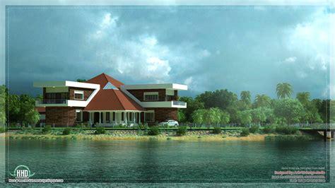 lake house lake villa unique lake side kerala villa elevation house design plans