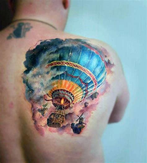 70 air balloon tattoo designs for men basket full of