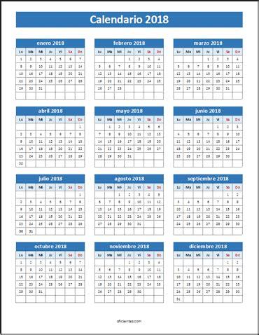 Calendario 2018 Chile Para Imprimir Calendario 2018 Para Imprimir Y Editar Descarga Todo Tipo