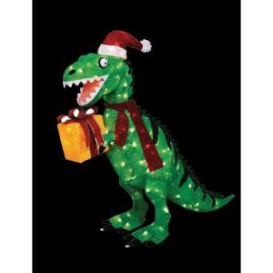 home accents 42 in animated tinsel dinosaur with
