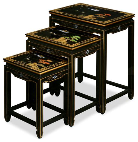 asian accent table hand painted scenery design nesting tables asian side