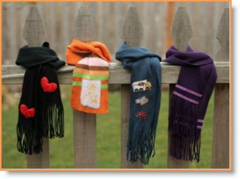 dollar store craft 4 no sew scarves with embellishments