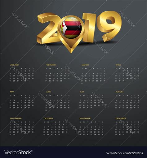 calendar template zimbabwe country map vector image