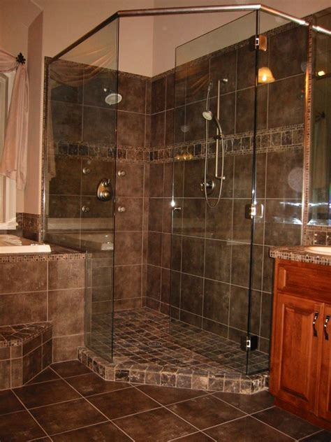 bathroom inspiring black marble corner shower tile wall ideas and frameless glass shower door