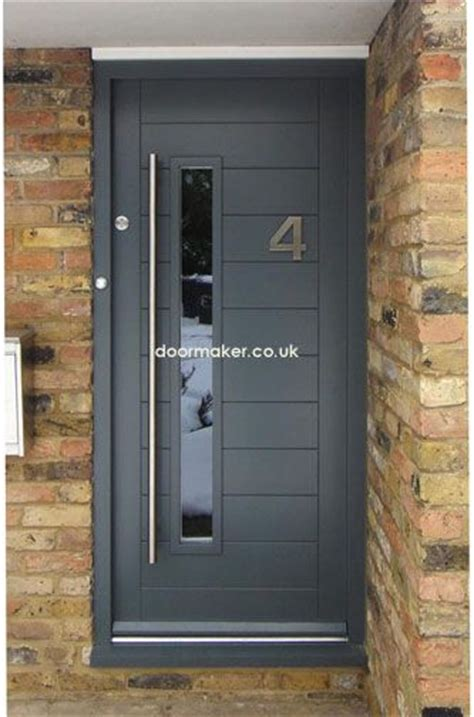 Contemporary Front Door Framed Horizontal Boarded Doors Gray Front Door
