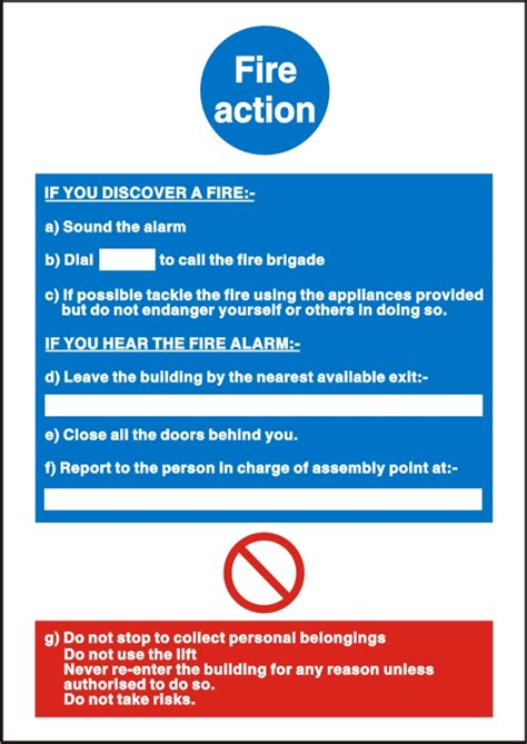fire action safety sign safety signs uk