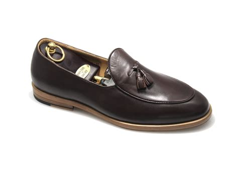 Handmade Loafers For - s handmade brown leather tassel belgian loafers