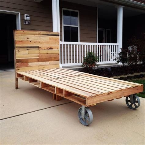 bed with pallets pallet bed with cart wheels 42 diy recycled pallet bed