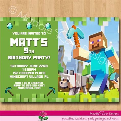minecraft birthday card template minecraft invitation printable minecraft birthday