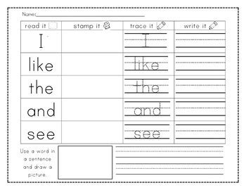 read  stamp  trace  write  sight words
