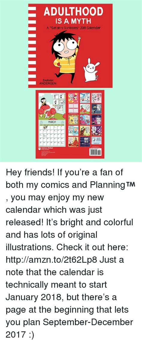 official sarahs scribbles 2018 adulthood is a myth a sarah s scribbles 2018 calendar 0 sarah andersen march hey friends if you