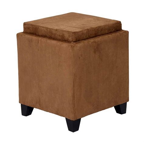 Microfiber Storage Ottoman With Tray Brown Microfiber Square Storage Ottoman Serving Tray Armen Living