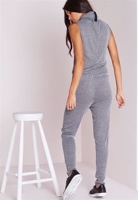 Jumpsuit Greya missguided ribbed roll neck jumpsuit grey in gray lyst
