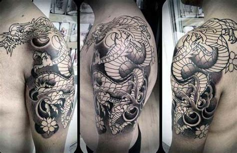 dragon sleeve tattoo black and grey images 90 japanese dragon tattoo designs for men manly ink ideas