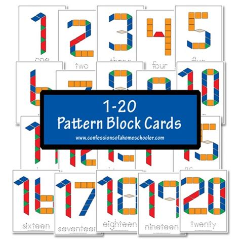 number templates 1 20 free 1 20 pattern block cards confessions of a homeschooler