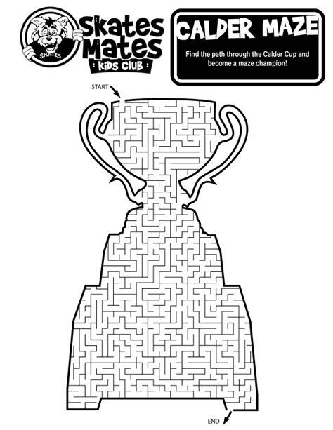 printable hockey mazes skates mates fun games chicago wolves