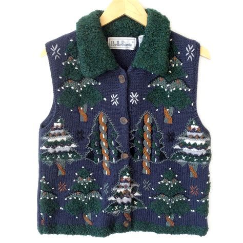 shaggy christmas trees tacky ugly christmas sweater vest