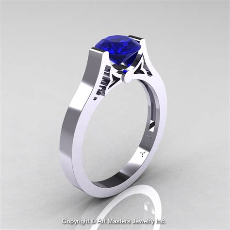 modern 14k white gold luxurious and simple engagement ring