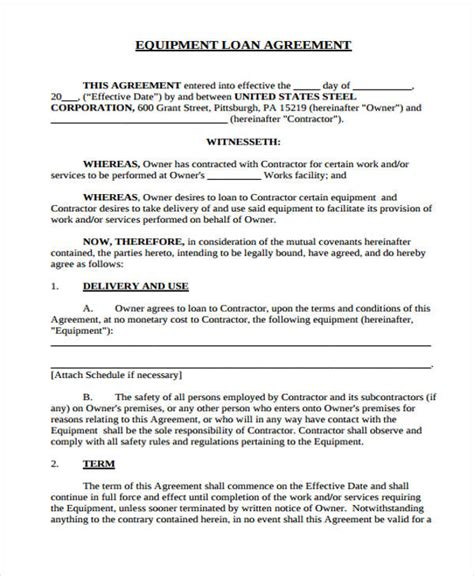 Sle Letter For Loan Of Equipment 40 Printable Loan Agreement Forms