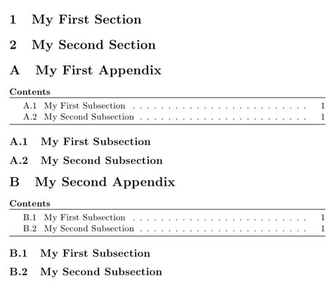 latex appendix tutorial appendices table of contents within appendix tex
