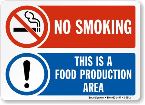 Open Kitchen Design by No Smoking Food Production Area Sign Sku S 4942 Mysafetysign Com