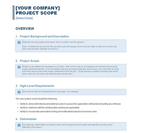 sle project scope statement template images