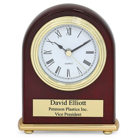 arched piano finish rosewood personalized desk clock clocks