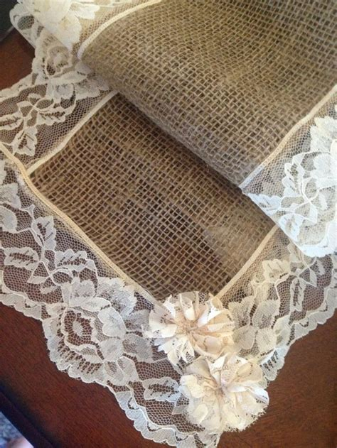 burlap table runner with lace burlap and lace table runner