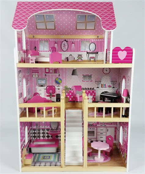 pink wooden dolls house butternut large wooden dolls house with accessories