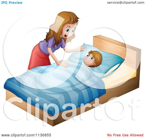how to get her in bed cartoon of a mother tucking her son in for bed royalty