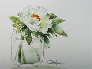 Succulent Vase White Peony In Glass Jar Original Watercolor Painting Flowers