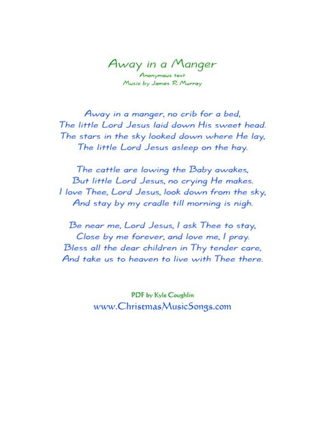 printable lyrics for away in a manger away in a manger lyrics