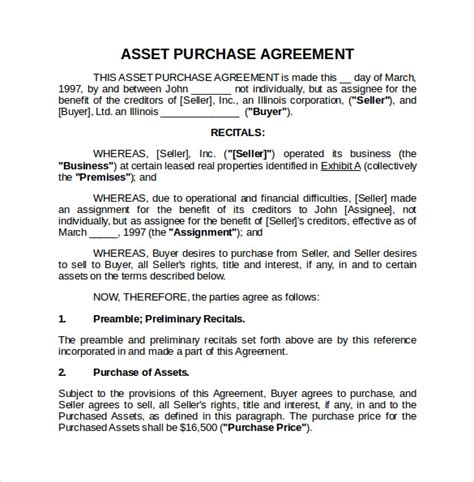 asset purchase agreement   documents   word