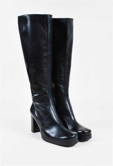 knee high chunky heel boots robert clergerie black leather toe chunky heel knee