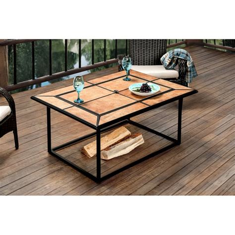 wood burning pit table rectangular coffee patio deck