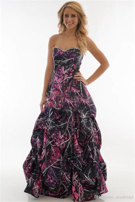 Dress Fusia camo wedding dresses winter fusia sweetheart with beaded