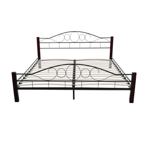 vidaxl co uk metal bed 140 x 200 cm with wooden leg