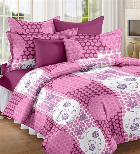 bed sheet desi connection plum premium printed double bedsheet set