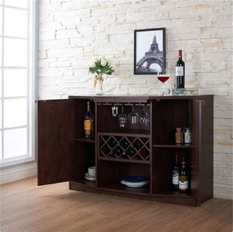 Wine Bar Buffet And Storage Cabinet With Center Glass And Bar Buffet Wine Rack
