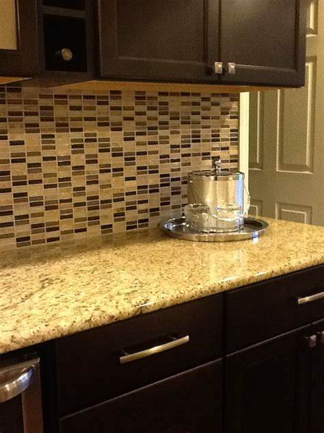 Granite Countertops With Glass Tile Backsplash by Glass Tile Backsplash Venetian Gold Granite Countertop