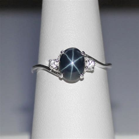 Cincim Single List Blue Ring genuine blue sapphire ring sterling silver blue