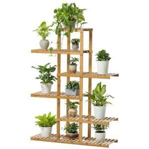 premium bamboo wooden plant stand indoor outdoor garden