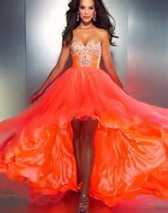 fire orange beautiful flowing neon prom dress woah