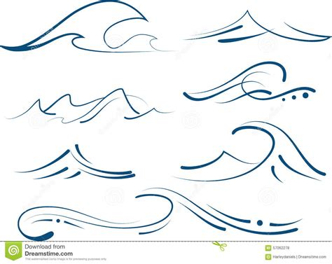 drawing a vector wave simple waves set stock vector image 57062278