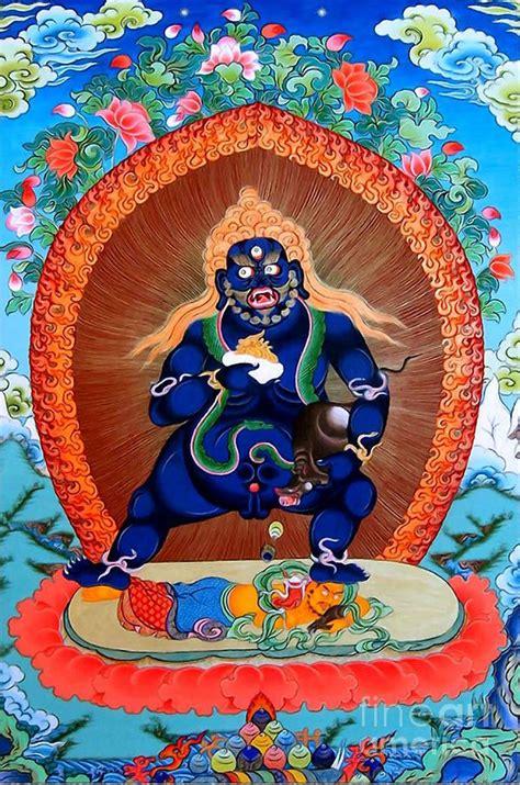 black wealth mantra black jambhala 4 greeting card by lanjee chee hindus
