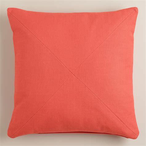 coral herringbone cotton throw pillow world market
